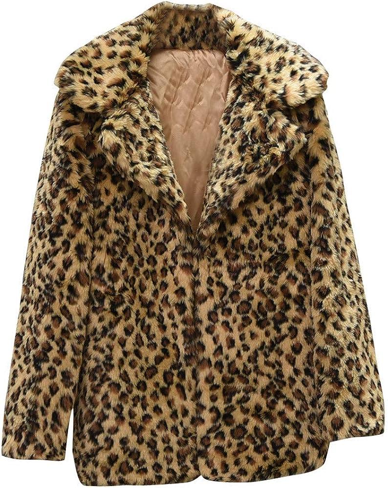 Fuzzy Fleece Jacket Women Zip,Women Casual Warm Winter Top Ladies Leopard Print Pullover Jumper Outwear