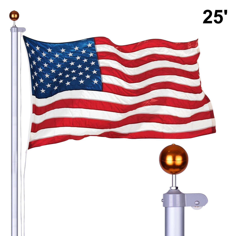 Long World 25FT Sectional Aluminum Flag Pole 3'x5' American Flag & Ball Top Kit Hardware Outdoor Garden Halyard Pole Inground Flagpole (25FEET)