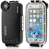Moonmini MEIKON 40m 130ft Rated Dive Submersible Underwater Photo Video Camera Waterproof Photo Housing Diving Swimming Skin Protective Case Cover for iPhone 6 Plus 5.5 inch with Lanyard (Black)