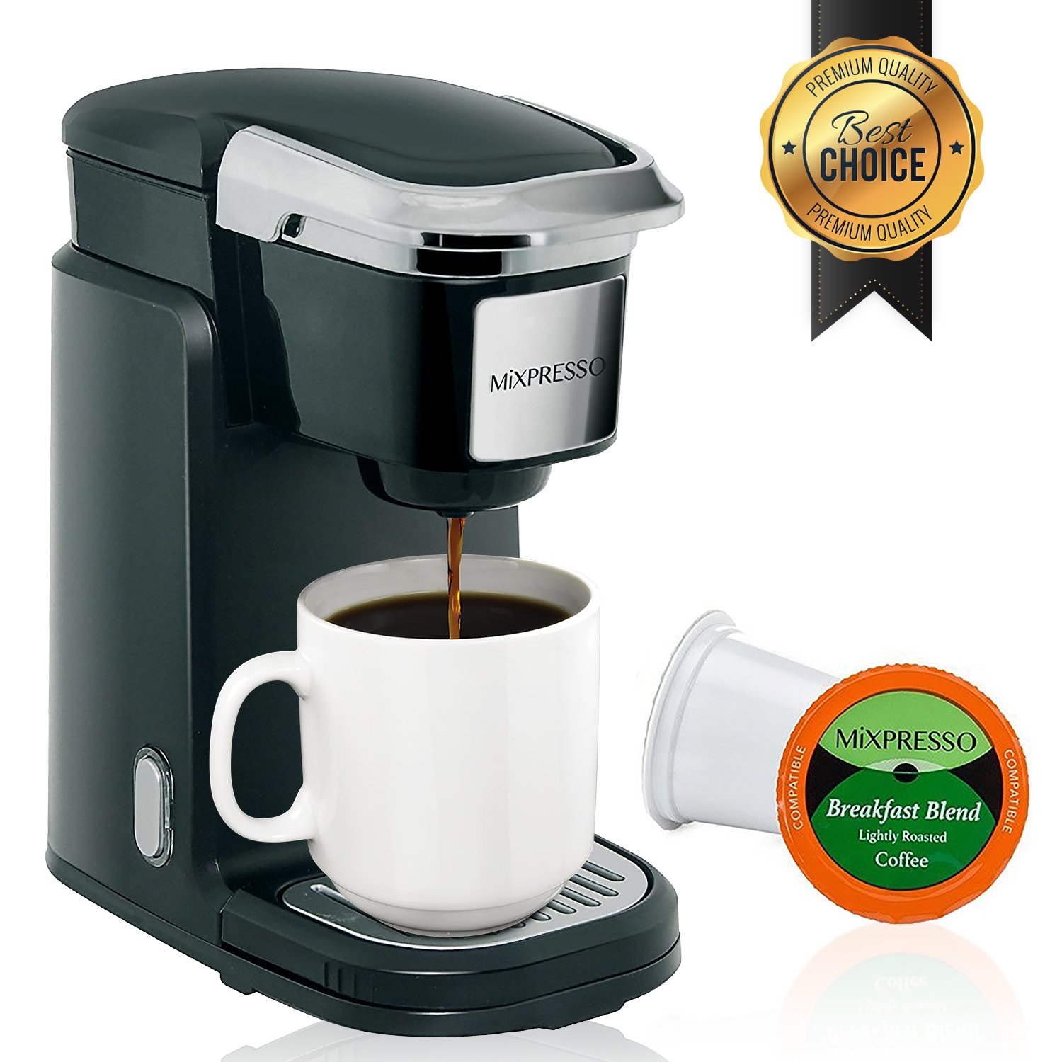 Mixpresso Single Cup Coffee Maker | Personal, Single Serve Coffee Brewer Machine, Compatible With K-Cups | Quick Brew Technology, Programmable Features, One Touch Function by Mixpresso Coffee