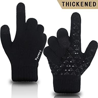 Mens Cold Weather Warm Gloves Thickened Brushed Non Slip Screen Touch Wind-Proof Outdoor Motorcycling Gloves