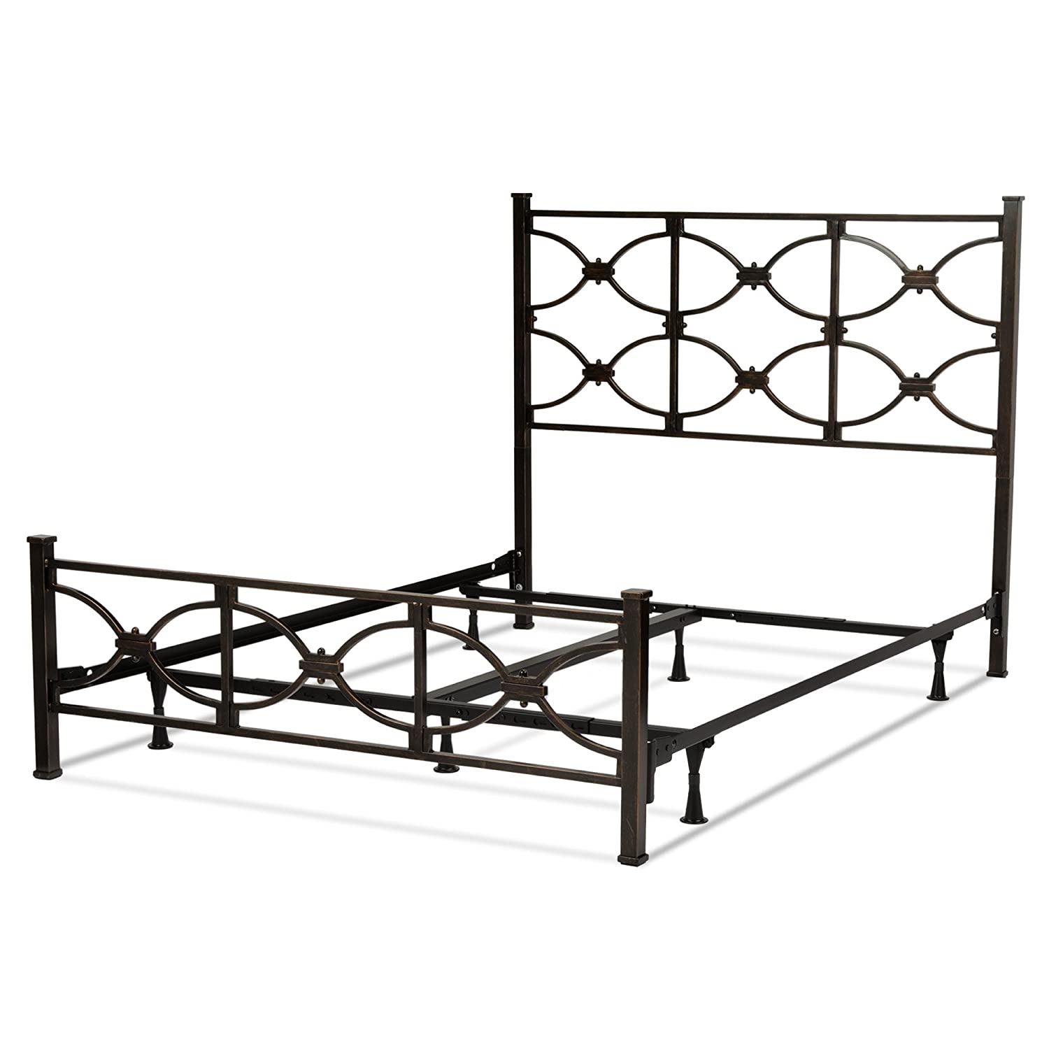 Marlo Complete Bed with Metal Panels and Squared Finial Posts, Burnished Black Finish, Full Fashion Bed Group B11474