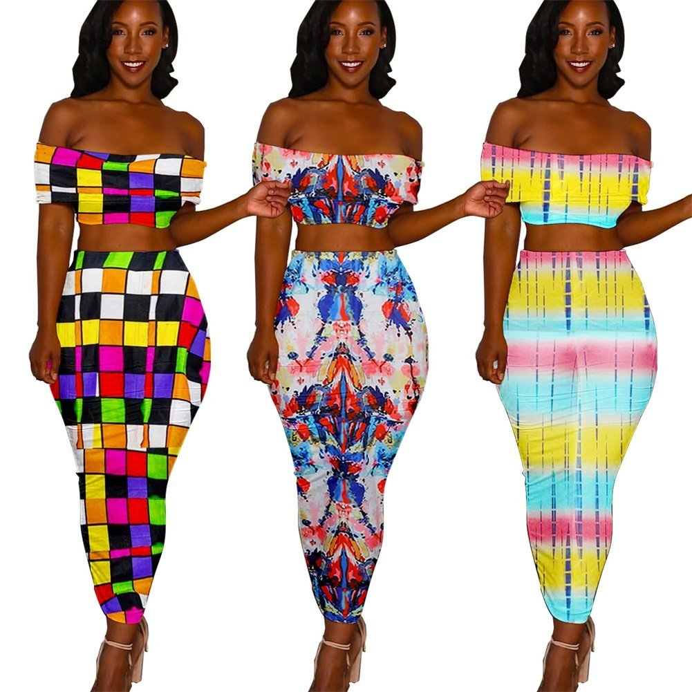 Nrthye Women 2 Piece Outfits Off Shoulder Floral Printed Top Shirt Bodycon Pencil Dress Sets