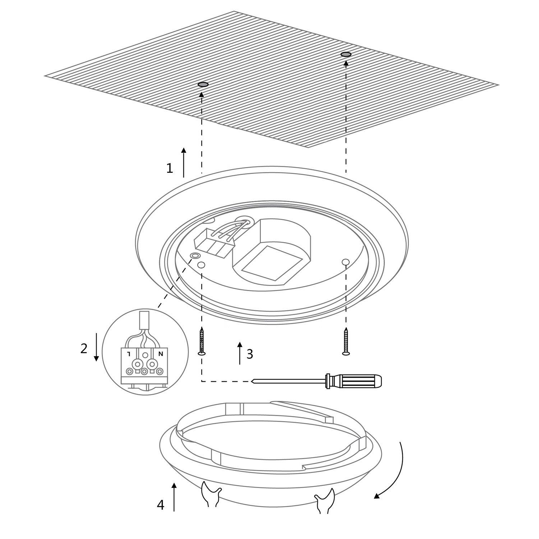 LE Plafonnier LED 12W Lampe de plafond Imperméable IP44