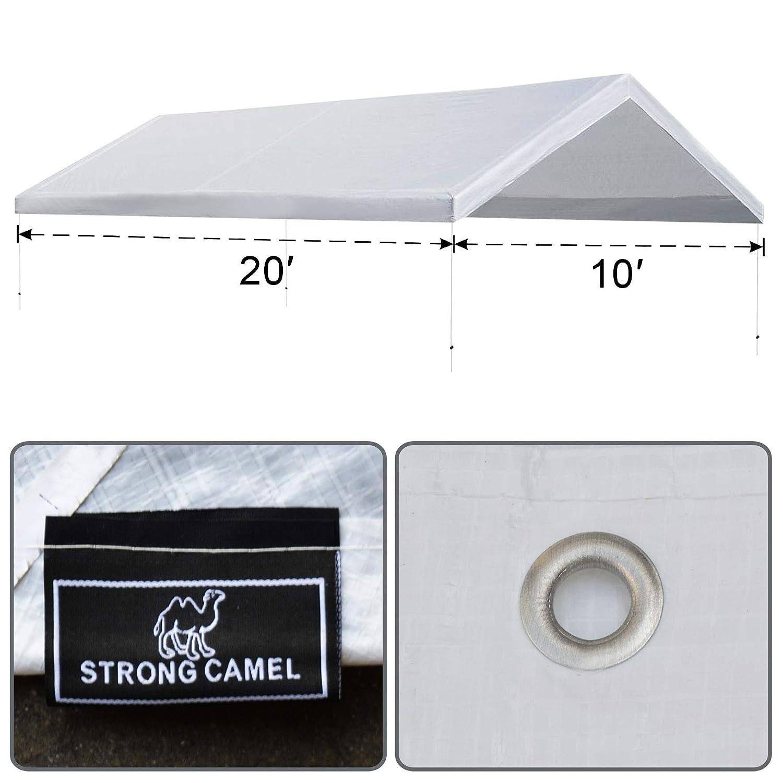 White Strong Camel Outdoor Carport Replacement Top Canopy Cover 10 X 20 Ft Patio Lawn Garden Carports Mhiberlin De