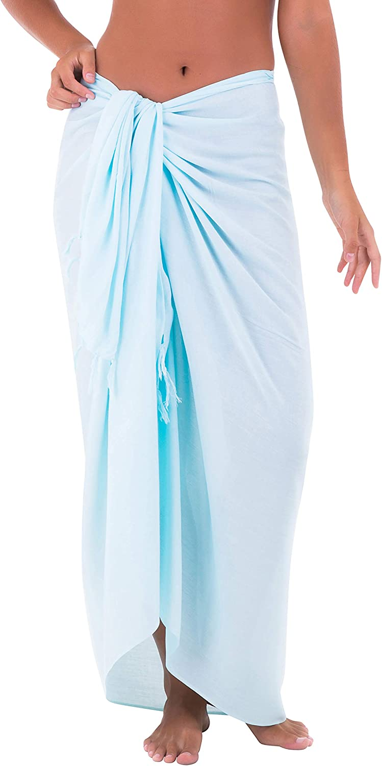Shu Shi Womens Beach Cover Up Sarong Swimsuit Cover Up Many Solids Colors To Choose Aqua One Size At Amazon Women S Clothing Store