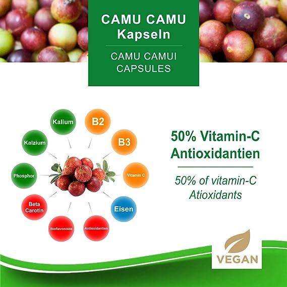 Camu Camu Cápsulas Extracto 8:1 con 50% de vitamina C natural (120 o 360 piezas) - producto de calidad vegana de MoriVeda (1x120)