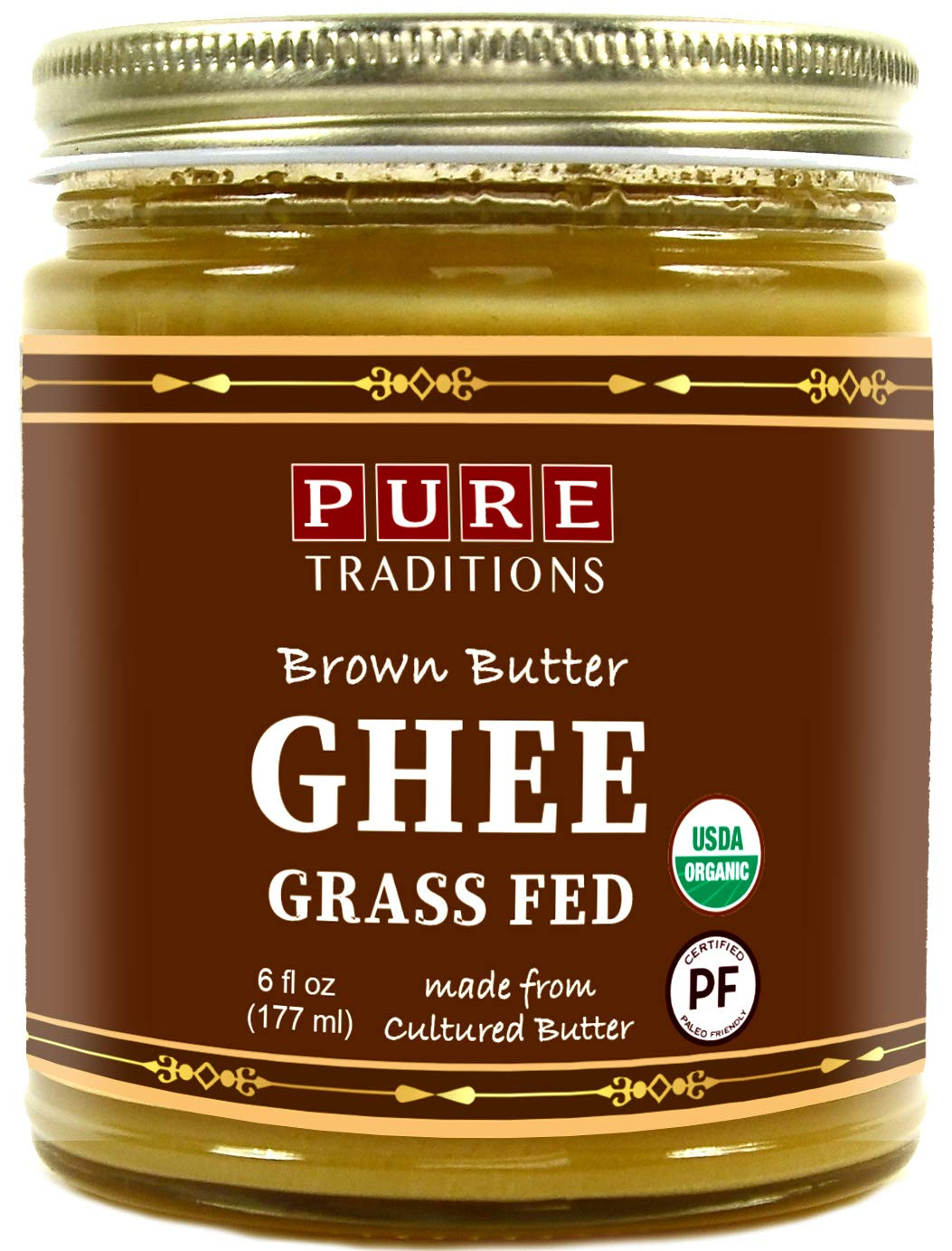 Organic Cultured Brown Butter Ghee, Grass Fed, Casein and Lactose Free (6 fl oz) by Pure Traditions (Image #1)