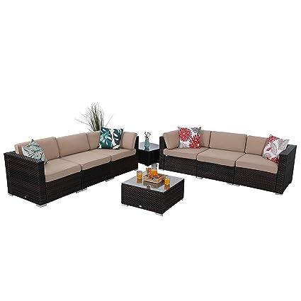 Super Amazon Com Phi Villa 8 Piece Outdoor Furniture Set Rattan Customarchery Wood Chair Design Ideas Customarcherynet