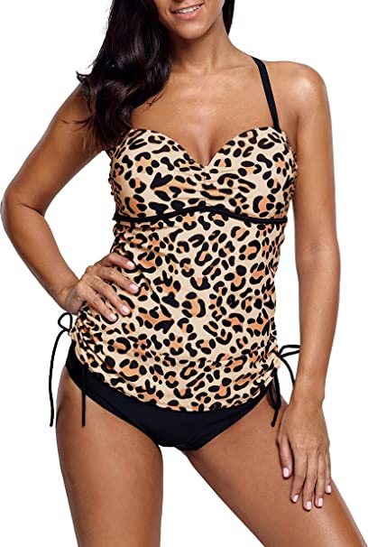 buy online be149 817c0 Unbekannt Tankini Damen Bikini bauchweg Bademode Badeanzug Polster Bügel  Zweiteiler Slip Top Leopard Leo
