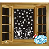 Sea View Stickers 60 Snowflake & Snowmen Window Reusable Christmas Decorations Static Cling