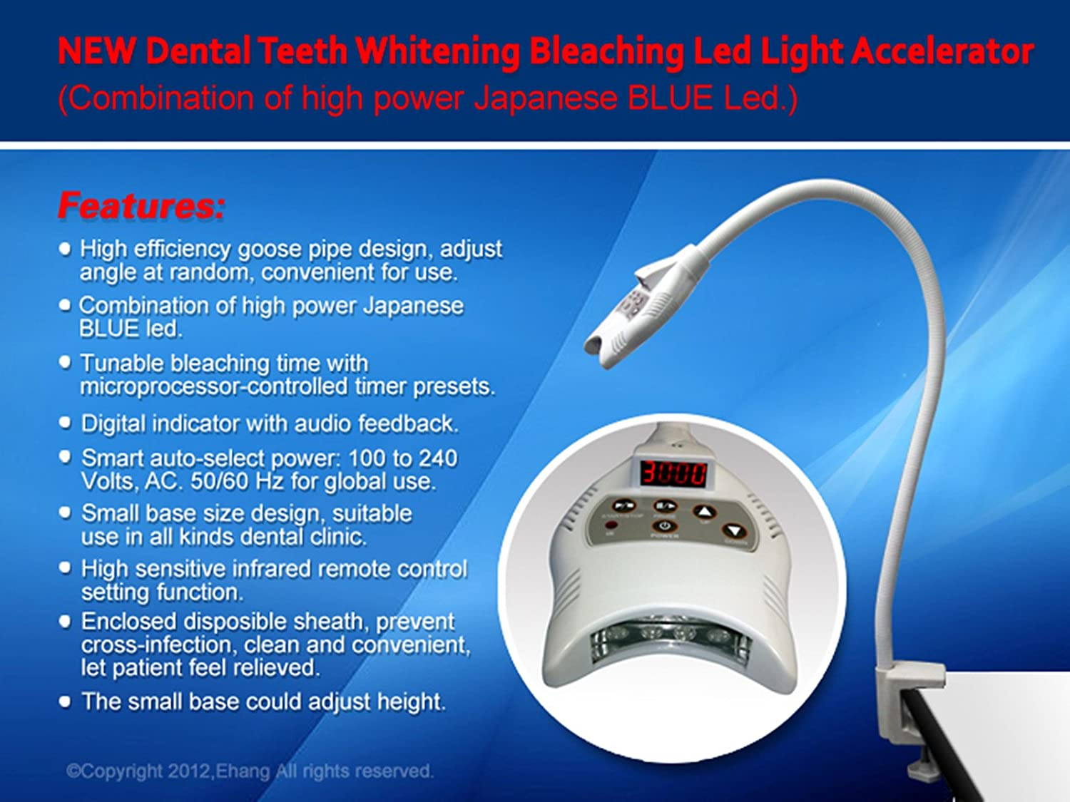 JIAHAO New Dental Teeth Whitening Bleaching LED UV Light Lamp Accelerator with Arm Holder- High Power Japanese Blue Led -HK999 715J8r27HOL._SL1500_