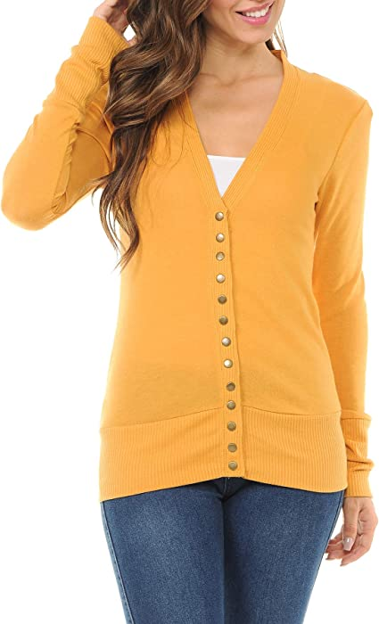 Amazon.com  ClothingAve. Women s Snap Button Sweater Cardigan with ... b509dda1c