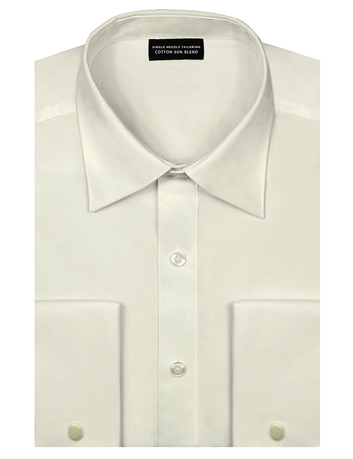Mens Wide Point Collar Solid Color Classic Regular Fit Dress Shirt