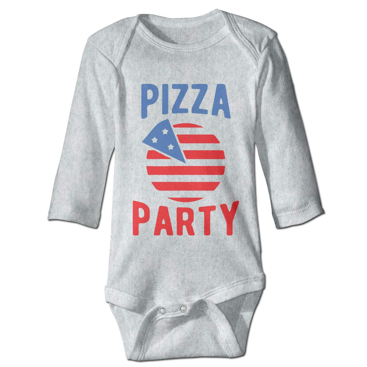A14UBP Infant Baby Boys Girls Long Sleeve Climb Romper Pizza Party 4th of July Unisex Button Playsuit Outfit Clothes
