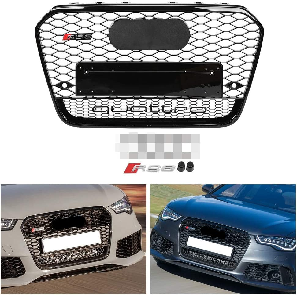 Gorgeri RS6 Quattro Style Hex Mesh Honeycomb Grill,Front Sport Hood Grill Black for A6//S6 C7 2012 2013 2014