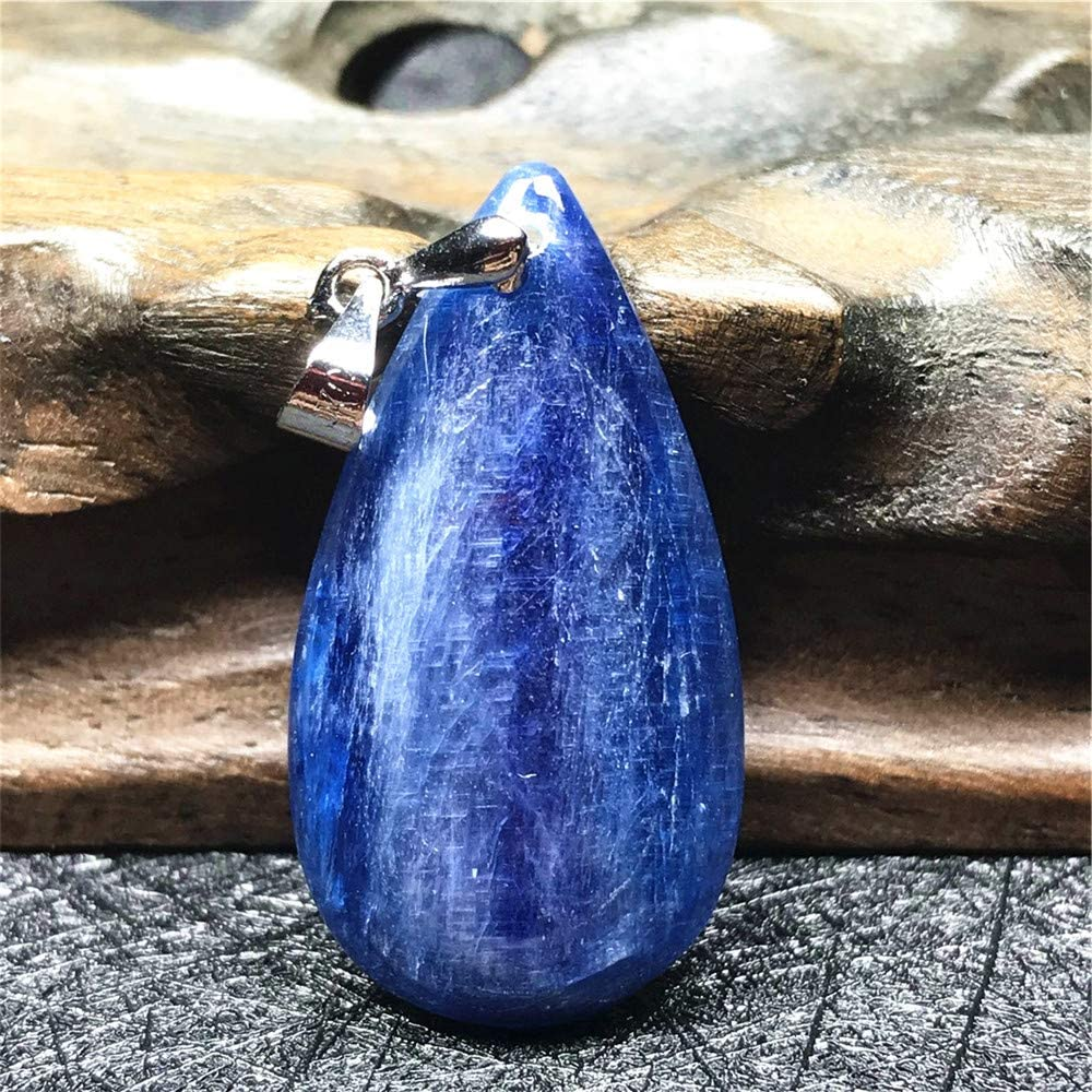 DUOVEKT Necklace Pendant Natural Blue Kyanite Jewelry for Woman Lady Man Crystal 33x18x5mm Beads Water Drop Cat Eye Stone AAAA