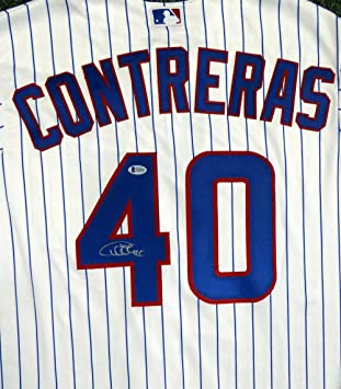 3b2c8254b Chicago Cubs Willson Contreras Autographed White Majestic Cool Base Jersey  Size XL Beckett BAS
