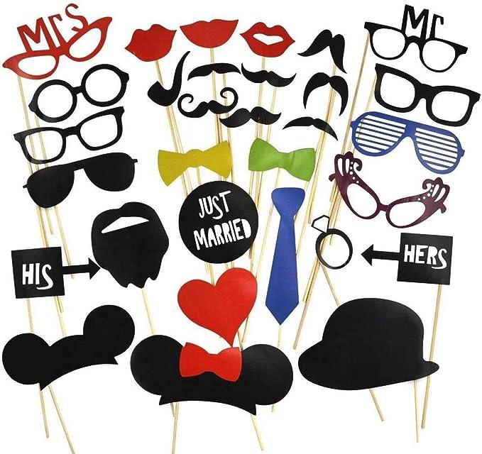 DAYAN 31 pcs Papel de barba labios sombrero de Utilería Decorativo ...