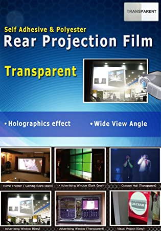"""Holographic Rear Projection Vinyl Film Self Adhesive Screen Film 20/""""x60/"""" Sticker"""