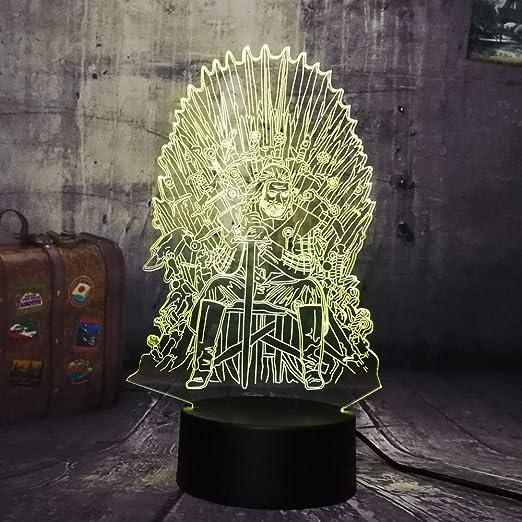 Juego de tronos Eddard Stark Throne Una canción de hielo y fuego Acrílico 3D RGB LED Luz de noche Lámpara de escritorio Decoración para el hogar Regalo de Navidad: Amazon.es: Iluminación