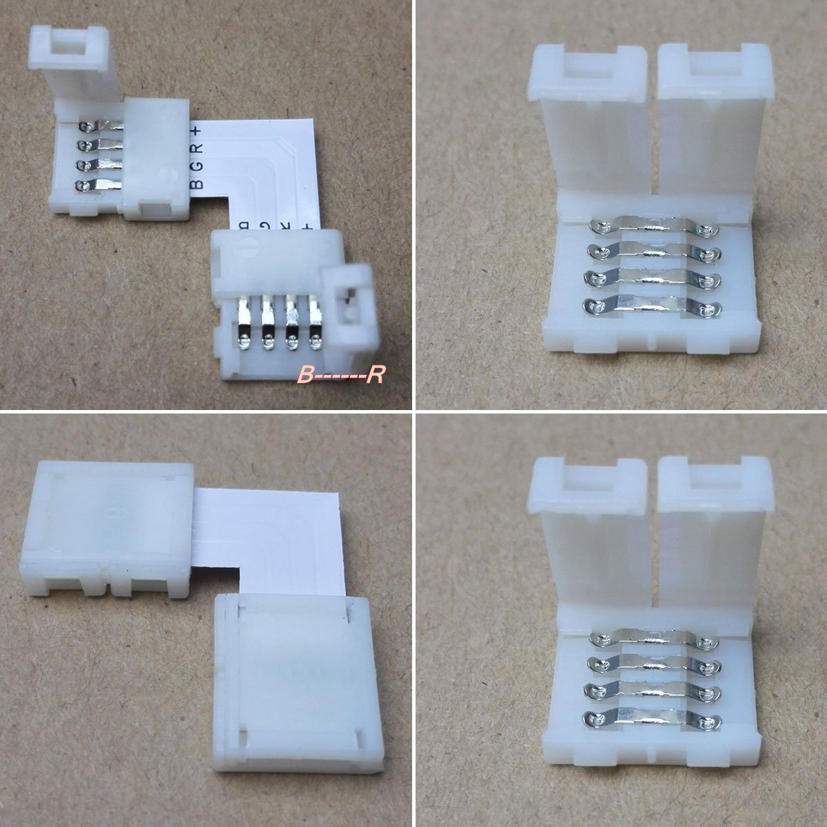 Freebily 20pcs 4 Pin Rgb Led Light Strip Connector Pbc 10mm To Wireclip For Wiring Strips Photo Solderless Smd 5050 Multicolor