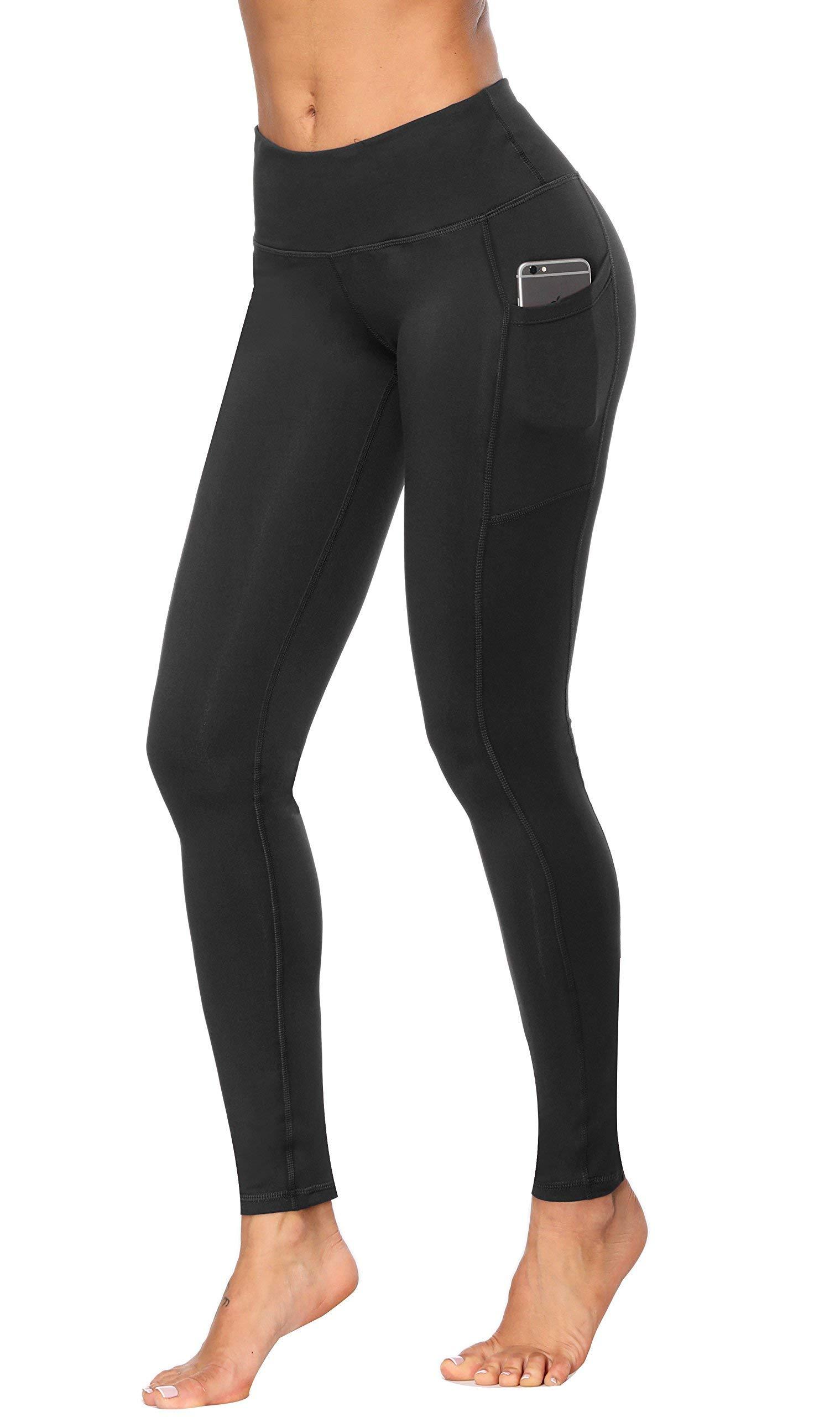 Fengbay High Waist Yoga Pants, Pocket Yoga Pants Tummy Control Workout Running 4 Way Stretch Yoga Leggings (Medium, L Black)