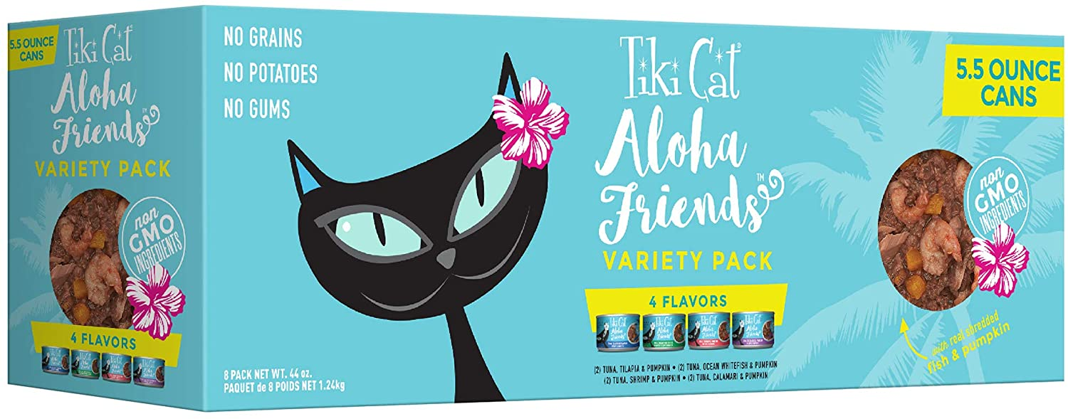 Tiki Pets Cat Aloha Friends Grain Free Canned Wet Food with Flaked Tuna for Cats and Kittens, Variety Pack 8 cans 5.5oz