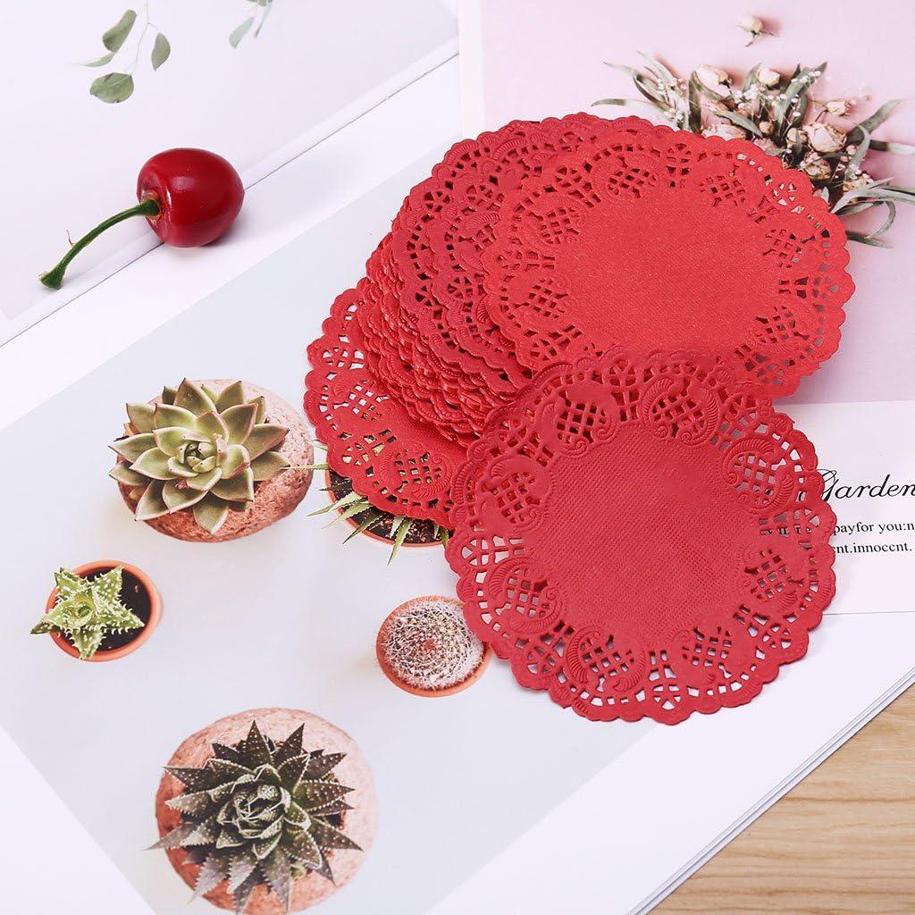 ZJL220 Carta da Parati in Pizzo colorato Sottobicchieri Sottobicchieri Eventi per Matrimoni Festa in tavola Regalo 100 Pz