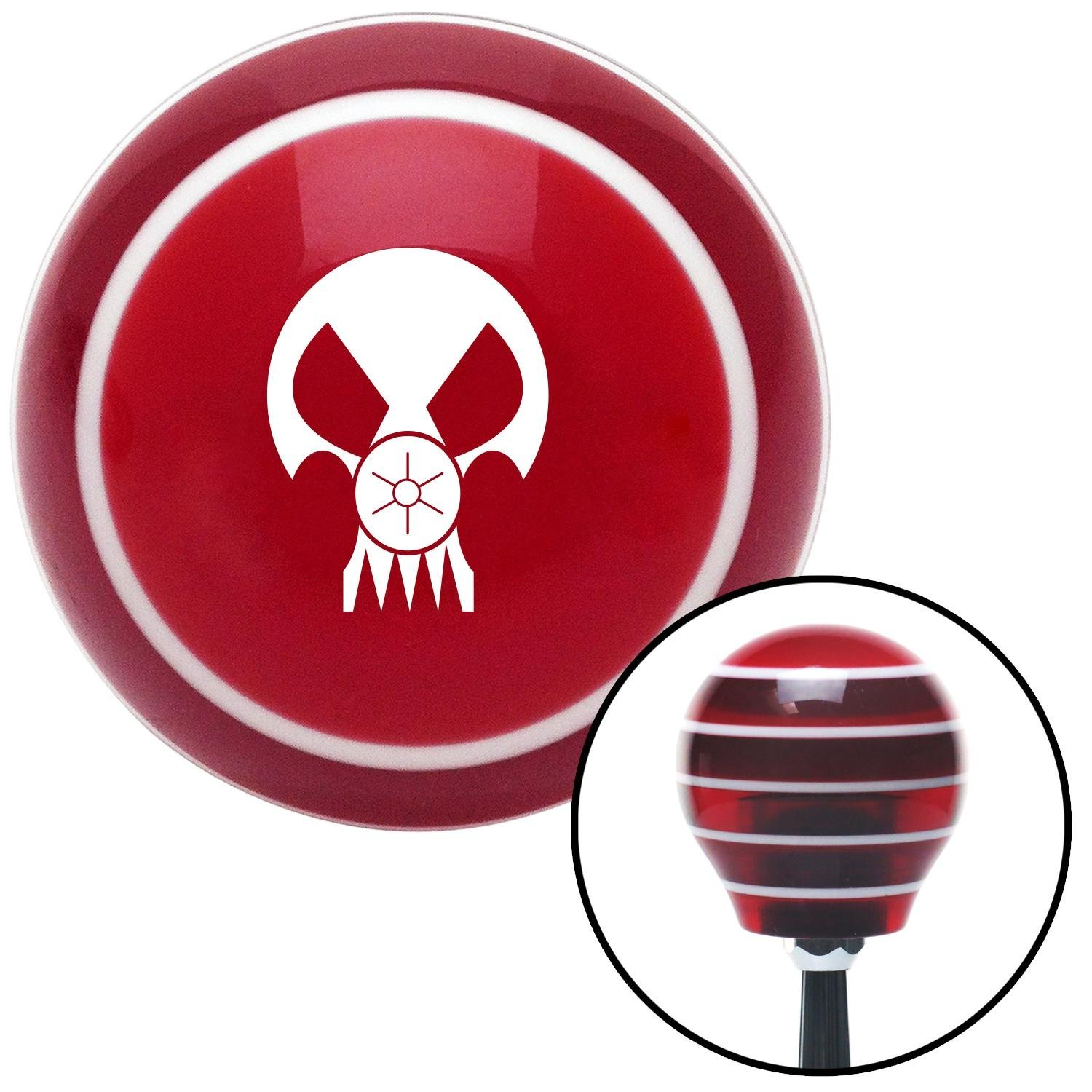 American Shifter 118591 Red Stripe Shift Knob with M16 x 1.5 Insert White Skull Gas Mask