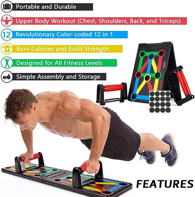 AYUQI Push Up Board - Tabla Plegable 12 en 1 para Entrenamiento, Entrenamiento Multifuncional, para Entrenamiento en el Interior y en el Brazo