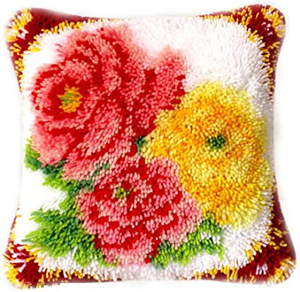 DIY Cushion Carpet Mat Latch Hook Rug Kits Cover Hand Craft Embroidery Pillowcase Crocheting Flower Handmade Baby Wedding Kids Parents Gift 16x16 Inch