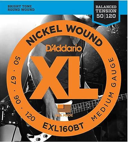 DAddario EXL160BT, cuerdas con entorchado en níquel para bajo, tensión media equilibrada