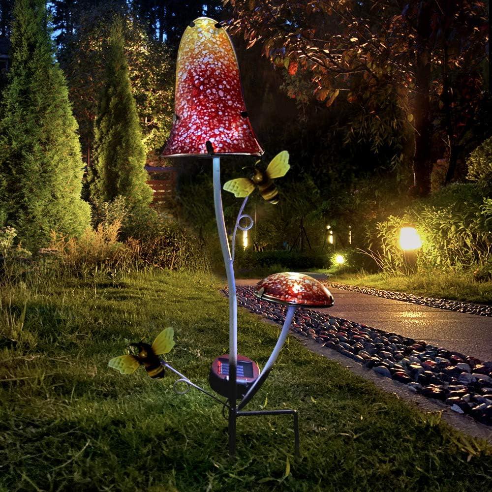 John's Studio Garden Solar Lights Red Orange Mushroom Decor Outdoor Decorative Stake with Metal Stand Glass Top for Garden, Patio, Yard
