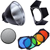 Fotoconic 7' Standard Reflector Bowens Mount with Umbrella Hole and BD-04 Barndoor with Honeycomb Grid & Color Filter…