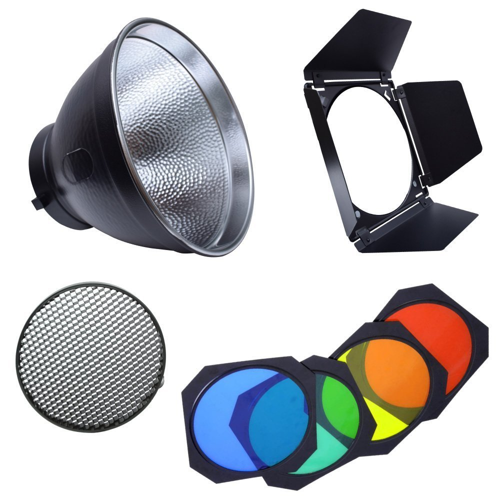 Fotoconic 7'' Standard Reflector Bowens Mount with Umbrella Hole and BD-04 Barndoor with Honeycomb Grid & Color Filter Gel Set by Godox