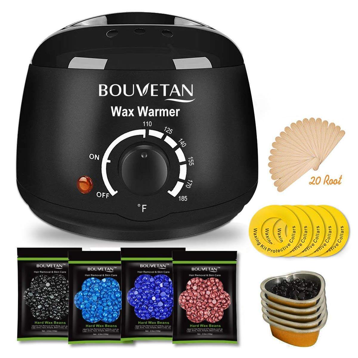 Wax Warmer, Professional Hair Removal Waxing Kit + 4 Scents Hard Wax Beans(3.5oz/Pack) + 20 Wax Applicator Sticks + 5 Protective Collars + 5 Small Bowls (Professional-grade Home Wax Kit) (15) (T01) by Keethem (Image #1)