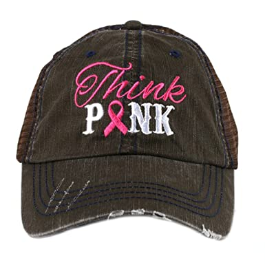 Think Pink Breast Cancer Awareness Ribbon Women s Trucker Hat Cap by Katydid 2a23b1d4657e