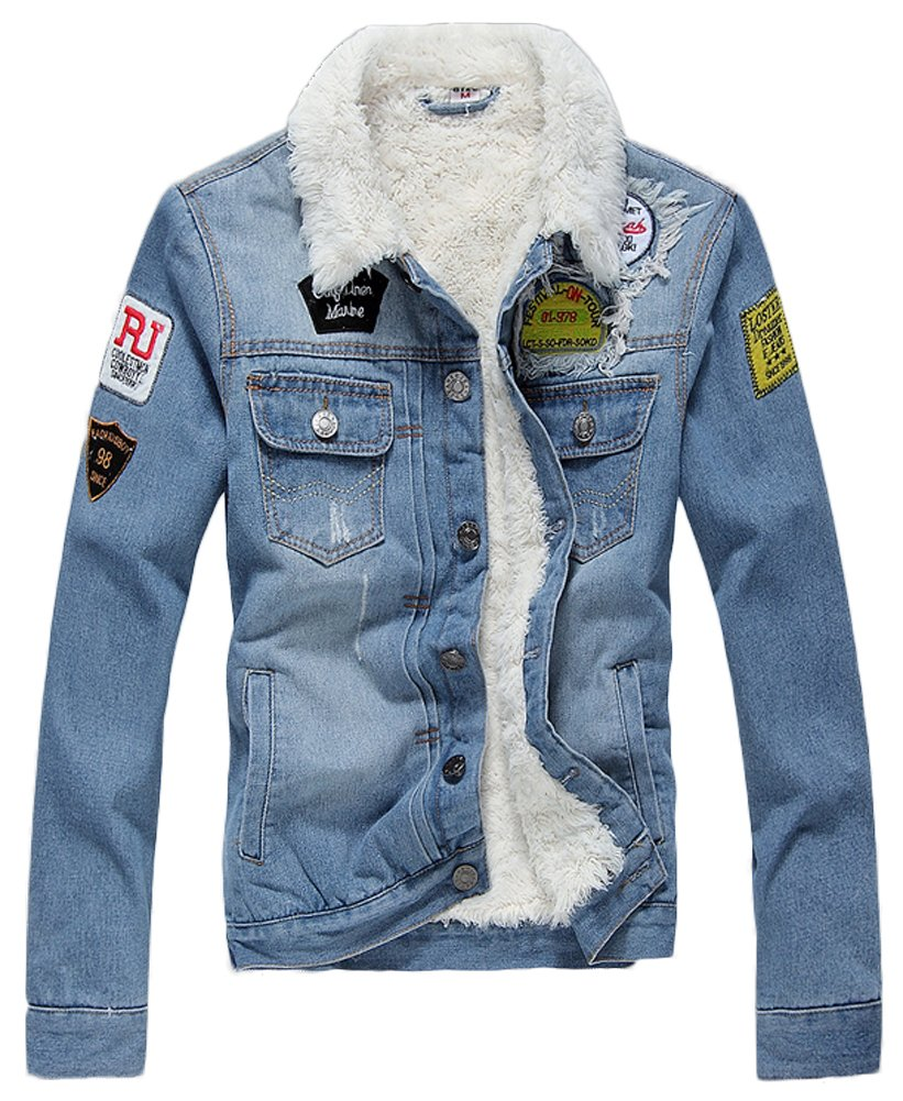 AvaCostume Men's Winter Fleece Lined Patch Denim Jacket Coats, Light Blue Small