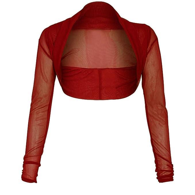 Womens Chiffon Long Sleeves Crop Top Ladies Sheer Mesh Bolero Cropped Shrug Top