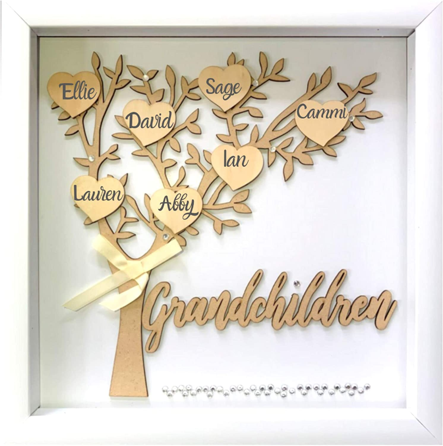 Amazon Com Tasse Verre 12x12 Grandchildren Shadow Box Kit Family Tree Gift For Grandparents Grandma Grandpa With 7 Hearts And 40 Gems Gift For Grandparents Grandchild Grandkid Nana Mimi Mothers Day