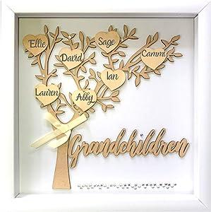 Tasse Verre 12x12 Grandchildren Shadow Box Kit - Family Tree Gift for Grandparents Grandma Grandpa with 7 Hearts and 40 Gems. Gift for Grandparents, Grandma, Grandpa, Nana, Mimi Mothers Day