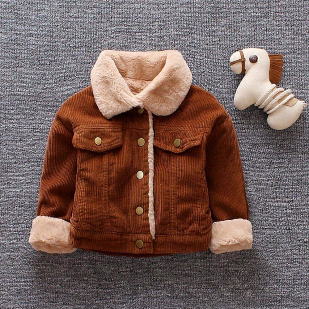 Noubeau Kids Baby Girls Boys Winter Solid Coat Cloak Jacket Thick Warm Outerwear Clothes Coffee, 6-12M