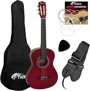 Tiger - Guitarra de concierto (tamaño 1/2, incluye accesorios), color rojo: Amazon.es: Instrumentos musicales