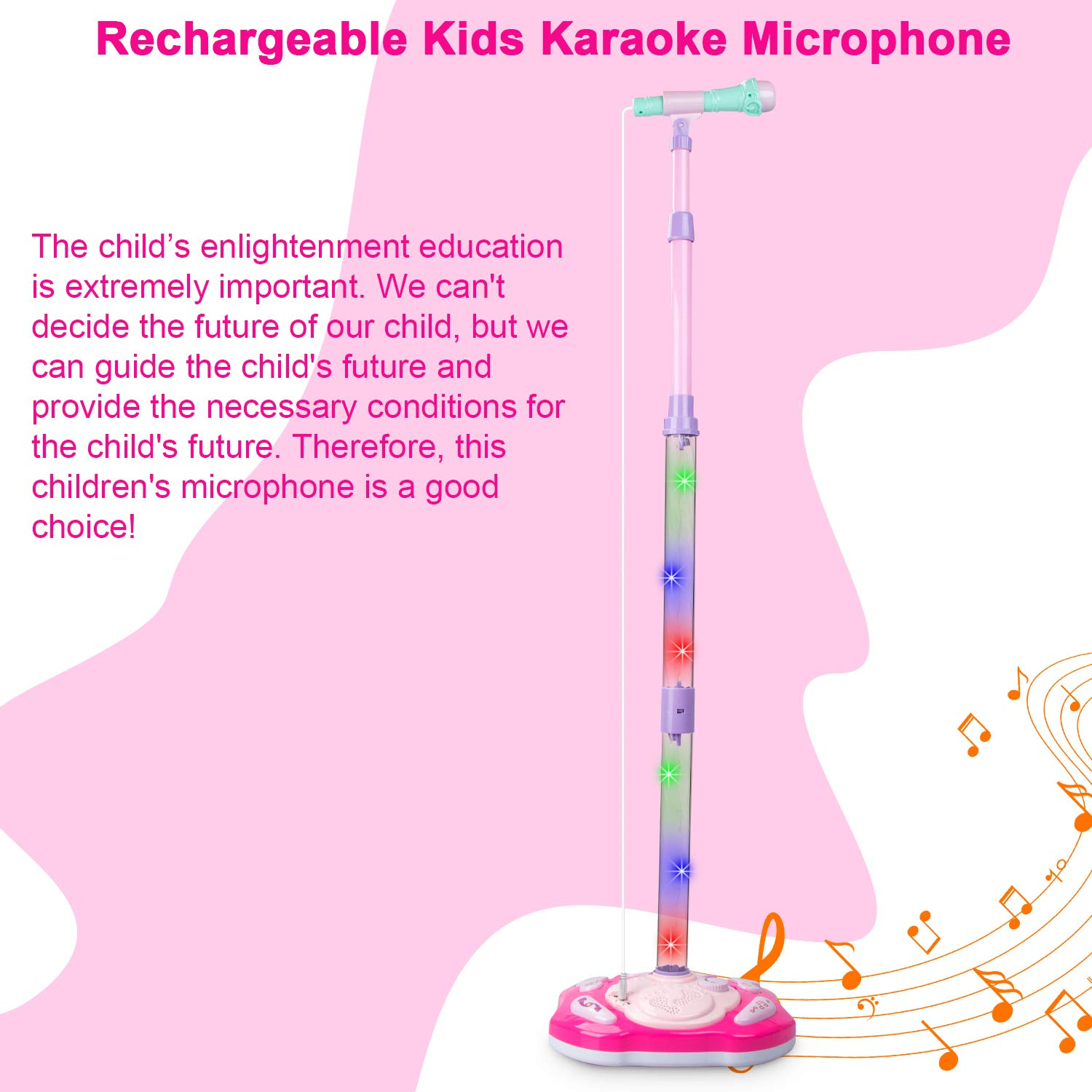 SAOCOOL Kids Microphone, Rechargeable Kids Karaoke Machine, Toddler Microphone Music Toy Set with Colored Lights Flashing & Adjustable Stand for Children Over 3 Years Old by SAOCOOL (Image #5)
