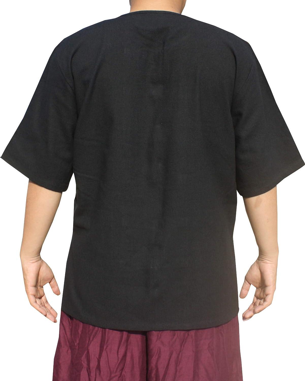 Raan Pah Muang Thick Cotton Chinese Short Sleeve Mandarin Open Collar Shirt
