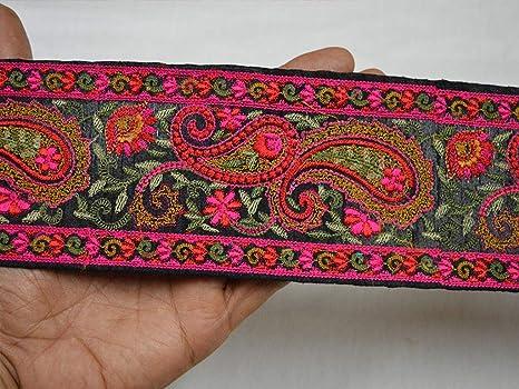 Cinta bordada de 9 yardas con borde de sari rosa al por mayor decoraci/ón de costura adornos florales para vestidos de novia cinta de dise/ñador bordada
