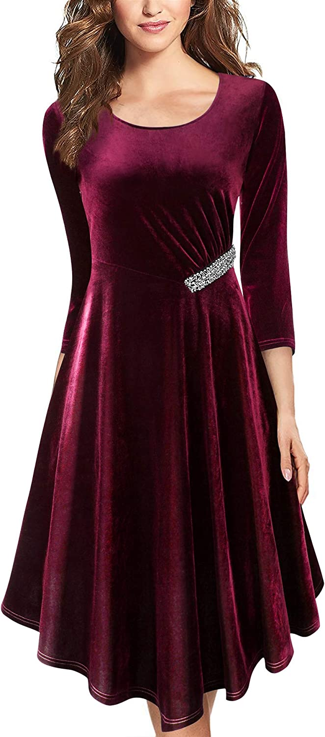 Lotusmile Women's Velvet 3/4 Sleeve Party Dresses Spring Elegant Cocktail Wedding Guest Dress
