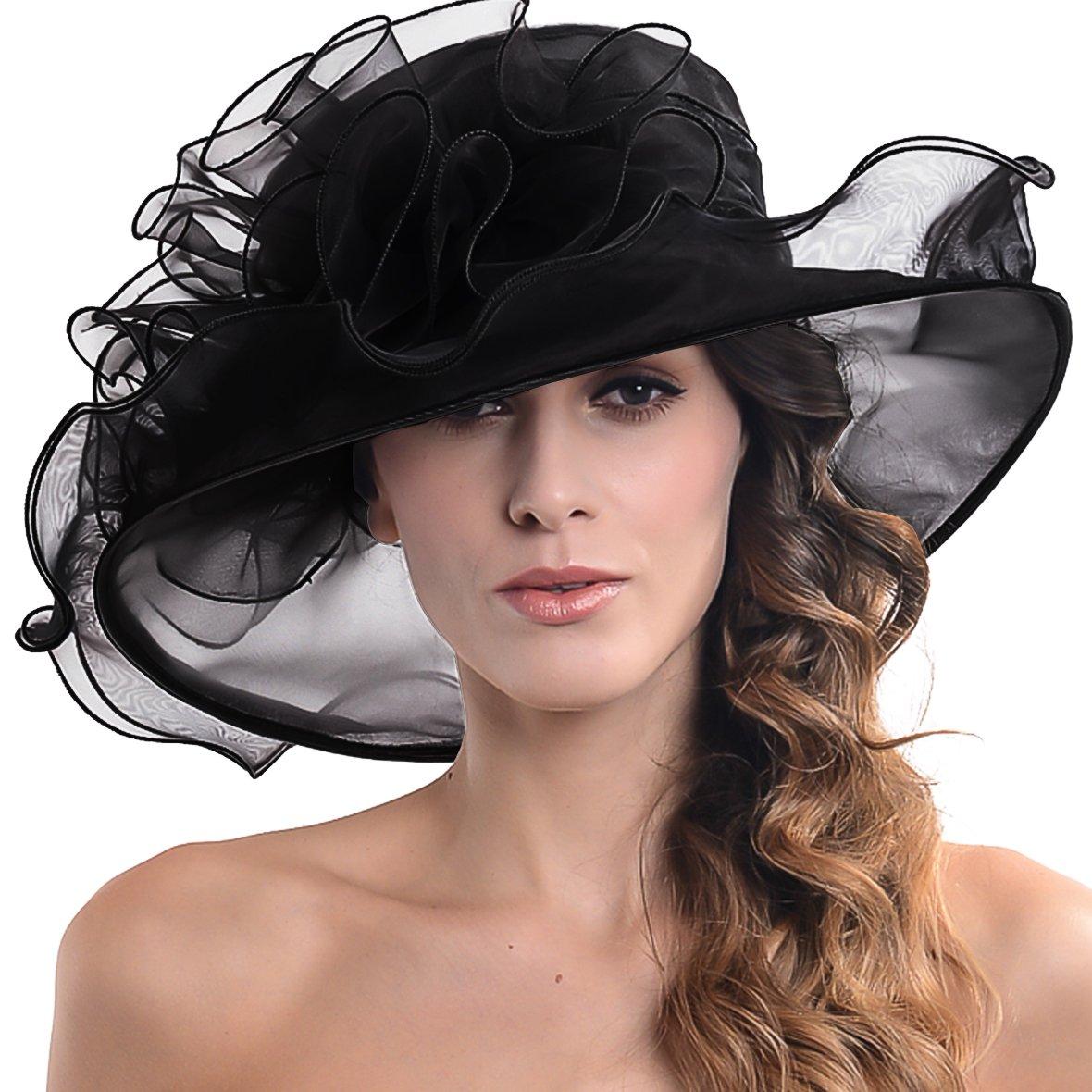 Fascinators Kentucky Derby Church Veil Dress Large Cocktail Party Hat S042 (s019-Black)