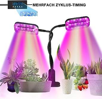3 modos de luz y 6 modos de brillo L/ámpara de Plantas SKEY L/ámpara de Crecimiento 96 LED Cultivo Luz de Plantas L/ámpara para Plantas Regulables y Funci/ón de Temporizador Lampara de Cultivo